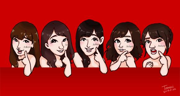 AKB48のまゆゆ、ゆきりん、ぱるる、こじはる、たかみな「.tokyoドメイン」似顔絵